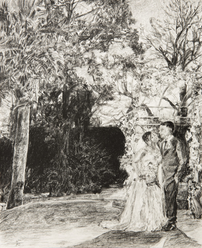 Beautiful wedding charcoal painting